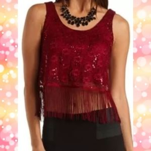 Charlotte Russe Red, sequined, crop top w/ fringe